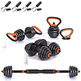 Gintonique Adjustable Dumbbells, Dumbbell Set, Free Weights Dumbbells Set of 2, Kettlebell, Barbell, Push-up Set, Home Work Out for Men and Women. Total Weight Up to 66LB