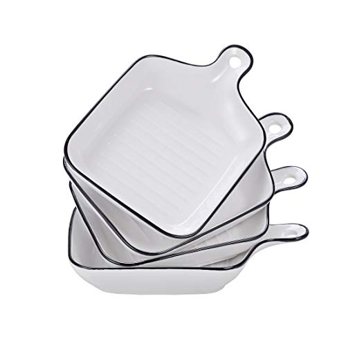 BonNoces Porcelain Baking Dish, Unique Square Individual Pasta Lasagna Pan, White with Black Edges Casserole Pan, Small Dinner Plate with Single Handle, Set of 4