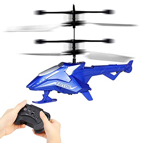 WEHOLY Toy Model Remote Control Aircraft Drone Helicopter 2-Channel Drop-Resistant Toy,Quadcopter, Children's Best Birthday, Indoor and Outdoor Children's Remote Control Toy (Color : Blue)