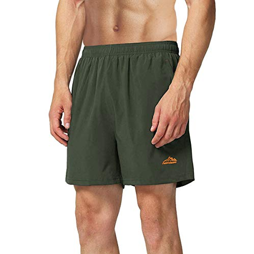 TACVASEN Men's Gym Shorts Outdoor Sports Breathable Jogger Shorts Green,32