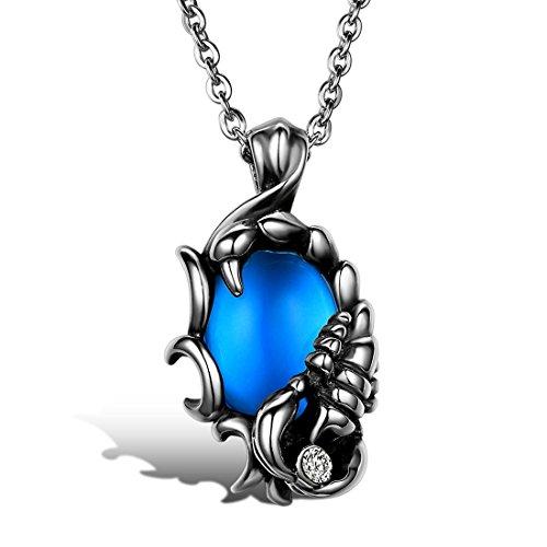 JewelryWe Schmuck Biker Edelstahl Halskette, Skorpion Herren-Anhänger mit 55cm Kette, Blau Silber, mit Geschenk Tüte