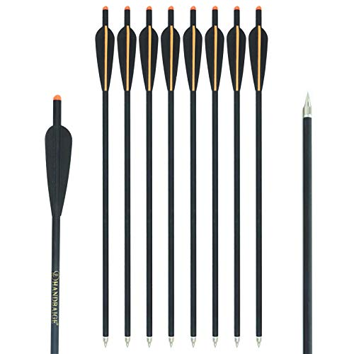 HANDBAIGE 12Pcs Crossbow Bolt 18/20/22inch Archery Outdoor Hunting Carbon Crossbow Arrows with 4' Vanes and Replaced Arrowhead/Tip (22 Inch)