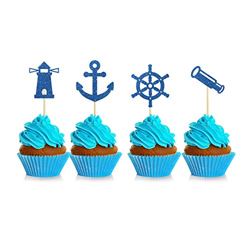 Blue Glitter Nautical Themed Cupcake Toppers, Baby Shower/Navy Themed/Navy Wedding Cupcake Decor, Ship Anchor Cupcake Picks Food Fruit Picks for Birthday Party Supplies for Kids or Adults 24 Pcs