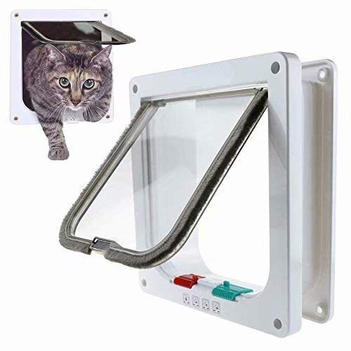 ZheJia with Pet Dog FlapDoor InstallingEasily(L) Telescopic Frame 4-Way White Locking Lockable Pet Door Kit for Catsand Small Dogs Cat Flap L(2523.55.3cm)