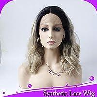 かつらストレート人間の髪の毛のかつらグルーレス高温レースフロントかつら耐熱繊維髪-22inch