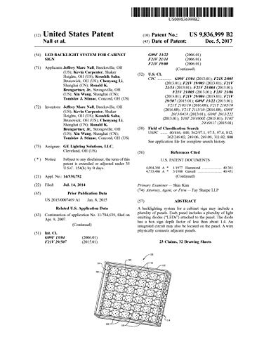 LED backlight system for cabinet sign: United States Patent 9836999 (English Edition)