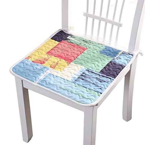 NIL Sitzkissen for Esszimmer Stühle Cotton Soft Breathable Anti-Rutsch-Sitzkissen Büro Studenten Hocker Ass Kissen Vier Jahreszeiten Verfügbar, 4 Stück (Color : C, Size : 40CM*40CM)
