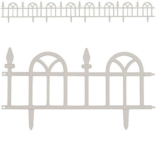 Deuba Rasenkante Beeteinfassung 2,4m weiß Bogen Design 4er Set Beetumrandung Mähkante Randsteine