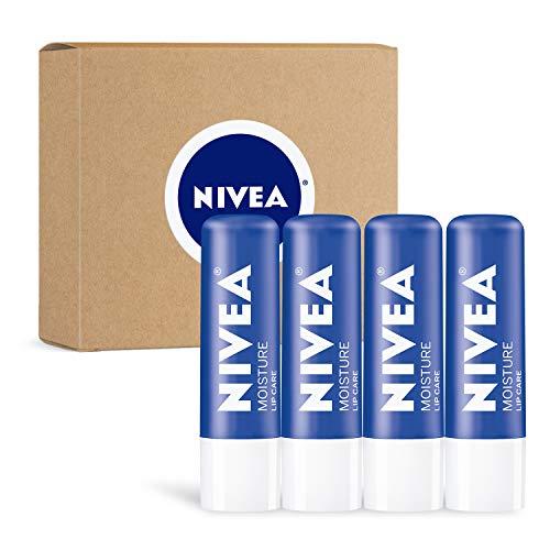 NIVEA Moisture Lip Care, Unisex Intensively Moisturizing Balm, 0.17 oz, Pack Of 4