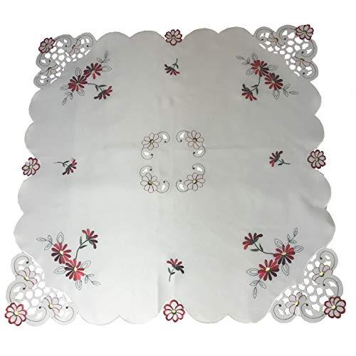 Mantel bordado floral rojo y vino margaritas en un cuadrado de 85 x 85 cm (34 x 34 pulgadas), borde festoneado con corte (10040)