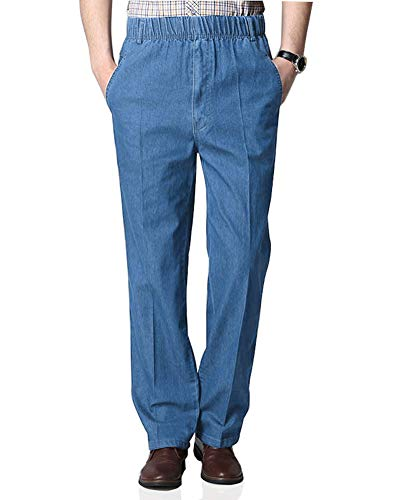 Soojun Mens Casual Loose Fit Elastic Waist Denim Pants, Denim Blue, 34W x 30L