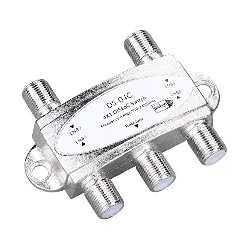 JohnJohnsen 4 en 1 4 x 1 DiSEqc Interruptor de Banda Ancha de 4 vías DS-04C Conexión de Alto Aislamiento 4 Platos satelitales 4 LNB para Receptor satelital (Plateado)