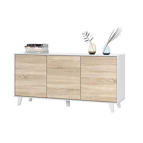 Habitdesign 0F6638BO - Aparador Buffet salon Comedor 3 Puertas, Color Blanco Brillo y Roble Canadian, Medidas: 154 x 75 x 41 cm de Fondo