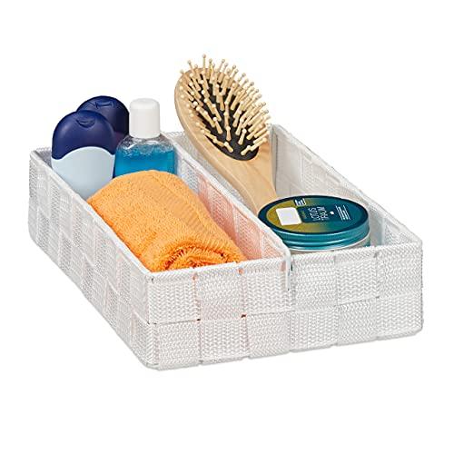 Relaxdays Almacenamiento, Separador Variable, Cesta de Mimbre versátil para estanterías y armarios, 6,5 x 27 x 18 cm, Color Blanco, Medium