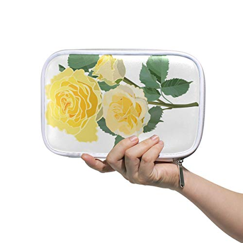 Beauty Tote Bag Enthusiasm Pretty Yellow Rose Floral Gym Toiletry Bag for Women Cute Pencil Case for Girls Multifunctional Xs Makeup Bag for Men Women
