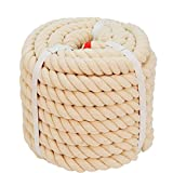 Twisted Cotton Rope (1 inch x 50 feet) Natural Thick Soft Rope for Crafts, Sports Tug of War, Hammock, Home Decorating Wedding Rope