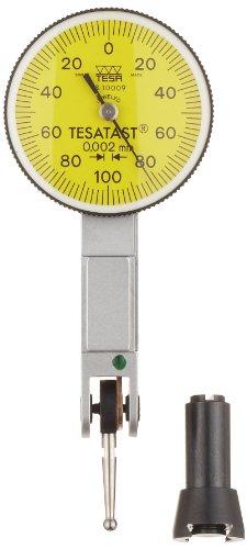 Brown & Sharpe TESA 18.10005 Tesatast Dial Test Indicator, Top Mounted, M1.4x0.3 Thread, 2mm Stem Dia., Yellow Dial, 0-0.4-0 Reading, 28mm Dial Dia., 0-0.8mm Range, 0.01mm Graduation, +/-0.01mm Accuracy