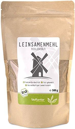 bioKontor // Leinsamenmehl, Leinmehl - teilentölt, low carb, Omega-3-Fettsäuren - 500 g - BIO (500g)