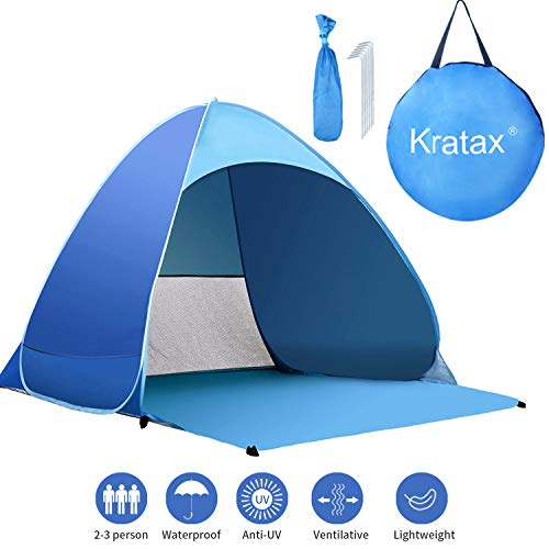 Kratax Pop Up Beach Tent for 1-3 Person Rated UPF 50+ for UV Sun Protection Waterproof Sun Shelters for Family Camping, Fishing, Picnic, Beach
