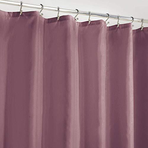 mDesign Duschvorhang Anti-Schimmel – wasserabweisender Vorhang für Dusche und Badewanne – moderner Badewannenvorhang mit zwölf verstärkten Löchern und Gewichten im Saum – pflaumenfarben/lila