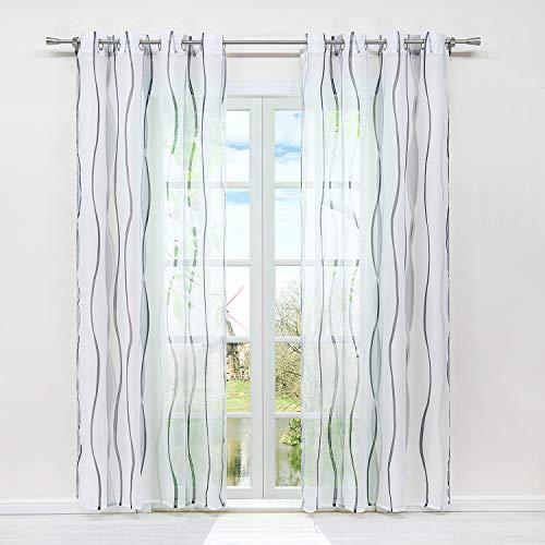 HongYa 1er-Pack Voile Gardine Transparenter Vorhang mit Ösen Wellen Druck H/B 225/140 cm Weiß Silber
