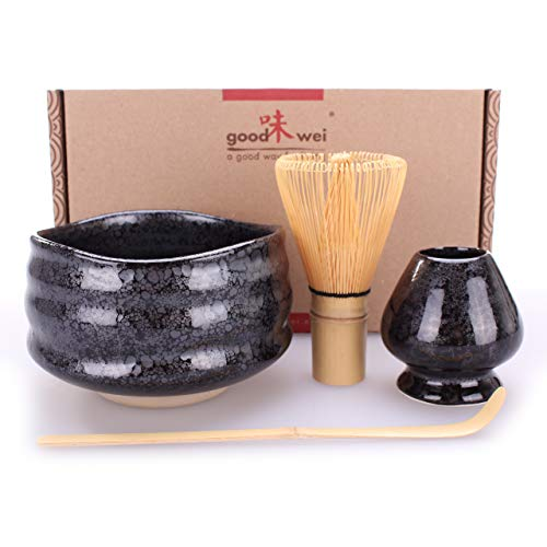 Goodwei Juego de té Matcha Premio - Cuenco Ceremonial, Batidor de Bambú y Soporte - Caja de Regalo (Tetsu, 80)