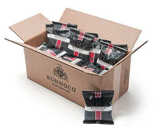 Ronnoco 100% Brazilian Bold, Handcrafted Ground Coffee Fraction Packs, Dark Roast, Bulk Single Pot Bags for Drip Coffee Makers, Individual Packets for Office, Hotel, and Restaurant, 2 oz (42 Count)
