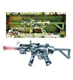 Mozlly Light Up & Sounds Military Combat Force Camouflage Machine Gun, 21.5' w/ Vibrations LEDs & Sounds Shotgun for Kids Boys - Pretend Play Dress Up Cosplay Costume Accessories, Colors May Vary