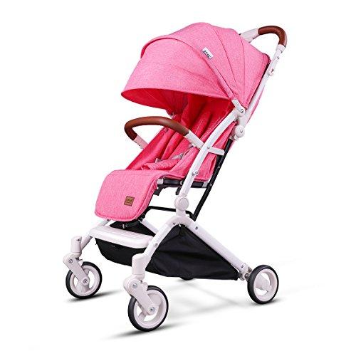 Kids&Koalas Cochecito de avión Diseño de un paso para abrir y plegar, cochecito de bebé ligero, Silla de paseo portátil de viaje para bebé, Carro de bebé convertible (Rosa)