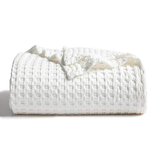 Bedsure Decke aus 50 prozent Baumwolle, 50 prozent Bambus, Waffelgewebe, für Couch/Bett, weiche, leichte Decke für alle Jahreszeiten, 228,6 x 228,6 cm, cremeweiß