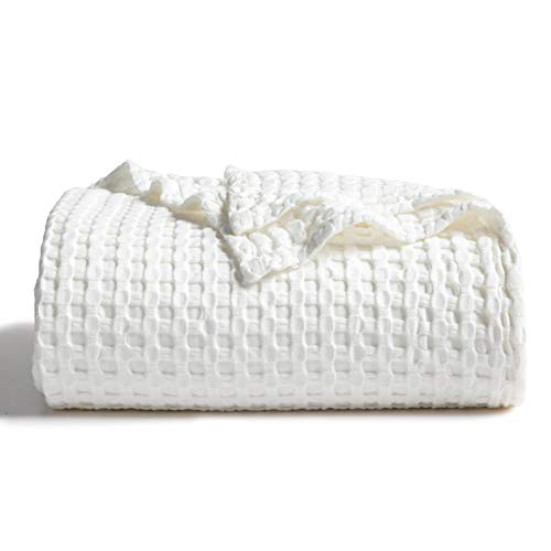 Bedsure 50% Cotton 50% Bamboo Blanket, Waffle Weave Blanket for Couch/Bed, Soft Lightweight Blanket for All Season Twin Full/Queen King Size, White/Grey/Navy/Khaki