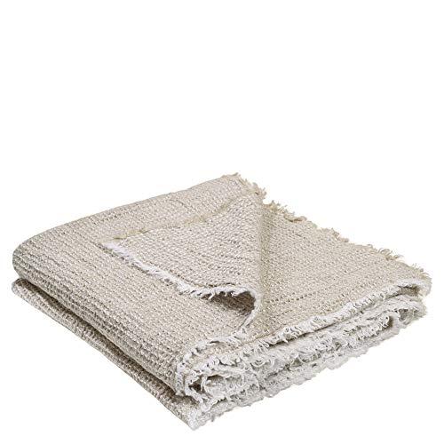 Medley-Plaid – weiche Decke aus Leinen – zweifarbig gewebtes Plaid mit Fransen aus Naturmaterialien – 170x230 cm – 090 clay - von 'zoeppritz since 1828'