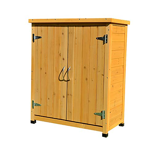 HJ Outdoor Storage Shed, Tool Cabinet Outdoor Rainproof Anti-Corrosion Galvanized Solid Wood Courtyard Balcony Rain Boots Shovel