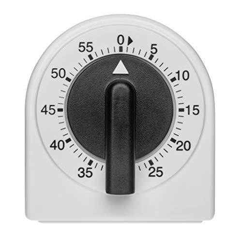TFA Dostmann Analoger Küchen-Timer, 38.1041, Eieruhr, einstellbar bis 60min, mechanisch, ohne Batterien, schwarz-weiß, (l) 60 x (b) 66 x (h) 40 mm