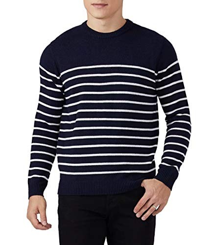 QUALFORT Men's Lightweight Knit Sweater Slim Fit Crew Neck Long Sleeve Pullover Sweater Breathable Mens Fitted Sweater Navy/White Mariner Stripe Large
