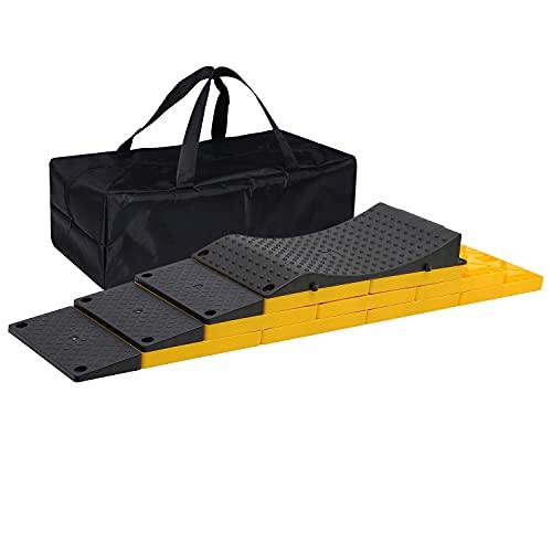 Homeon Wheels RV Leveling Blocks, Heavy Duty Camper Leveling Blocks and Chocks Anti-Slip Pads One Top Tire Saver Ramp, 3 Black Slanted Ramps, 9 Interlocking Leveling Blocks with Storage Bag(WH-202P)