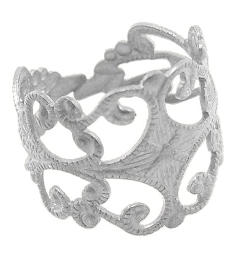 PEPPERLONELY Brand 10PC Silver Tone Brass Adjustable Filigree Ring Blanks