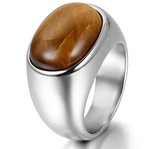 JewelryWe Schmuck Herren-Ring, Edelstahl, Klassiker Tiger-Auge, Silber, Größe 62