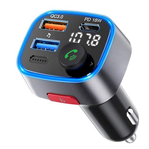 VicTsing FM Transmisor Bluetooth 5.0 para Coche, Manos Libres para Vehículos, Deep Bass Reproductor MP3, Botón de Palanca, 3 Puertos QC3.0 + PD 18W Carga rápida, Siri Google Asistente/Luz LED