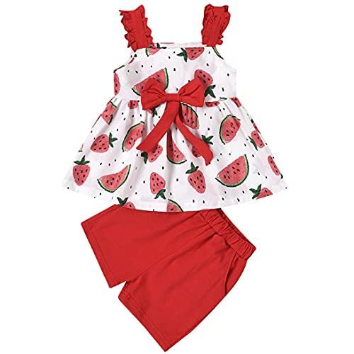 L&ieserram Conjunto de 2 piezas de ropa para niña, sin mangas, estampado de frutas y flores, de color liso, para primavera, verano, otoño rojo 3-4 Años