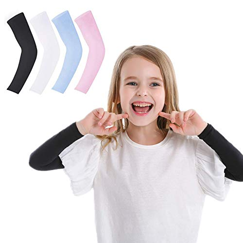 4 Pairs Sun Protection Arm Sleeves for Kids, UPF 50 Arm Cover for Boys & Girls Cycling, Golf, Outdoor Sports, Black, White, Blue & Pink