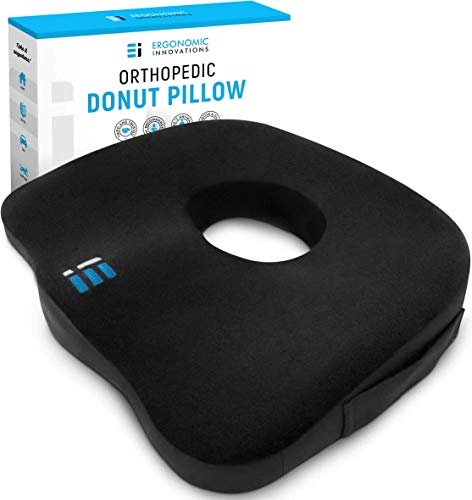ERGONOMIC INNOVATIONS Orthopedic Donut Pillow: Memory Foam Chair Seat Cushion for Tailbone and Coccyx Pain, Sciatica, and Pressure Relief - Car, Desk, and Office Chair Pad Cushions and Pillows - Black