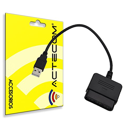 actecom® Adaptador para Mando Simple Negro PS1 PS2 a PS3 / PC A USB