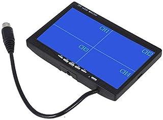 CoCar 7 Zoll 4 Splitscreen Monitor Quad Multiplexer Bildschirm TFT LCD 12 24V für Auto LKW PKW Rückfahrsystem Rückfahrkamera CCTV 4 Kanal 4 polig Stoßfest Sonnenschirm 800x480 HD Dash Ständer