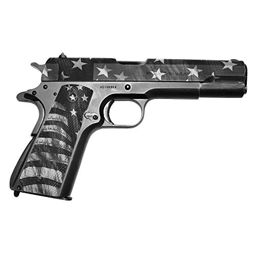 GunSkins Pistol Accent Skin - Premium Vinyl Gun Wrap with Precut Pieces - Easy to Install and Fits 1911-100% Waterproof Non-Reflective Matte Finish - Made in USA - Proveil Victory Grey
