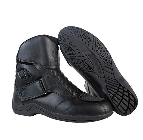 Zapatillas de ciclismo de la motocicleta a prueba de agua y precipitaciones antideslizantes Masculino Four Seasons Boot Short Tobillo Pista Zapatos de Turismo PU Botas de Moto de Cuero Recubierto
