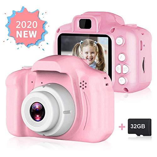Fodow Videocamera per Bambini, Videocamera Digitale per Bambini, Videocamera Digitale per Bambini Ricaricabile 1280P Videocamera per Bambini con Schermo IPS e Scheda SD 32G per Regalo per Ragazze