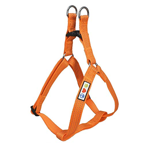 Pawtitas Reflective Step in Dog Harness or Reflective Vest Harness, Comfort Control, Training Walking of Your Puppy/Dog Extra Small Dog Harness XS Orange Dog Harness