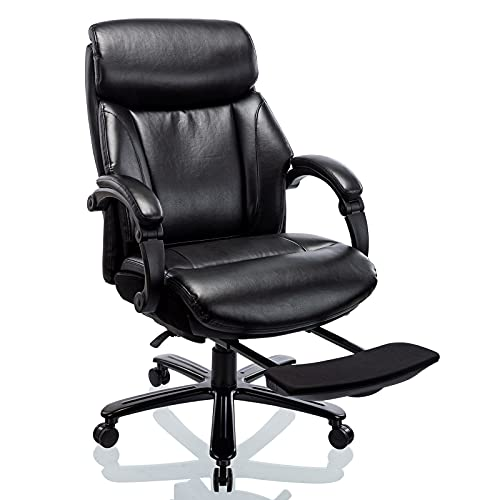 Big & Tall Reclining Office Chair with Footrest, High Back Bonded Leather Executive Computer Desk Swivel Chair with Adjustable Tilt Angle Metal Base Thick Padding Wide Seat