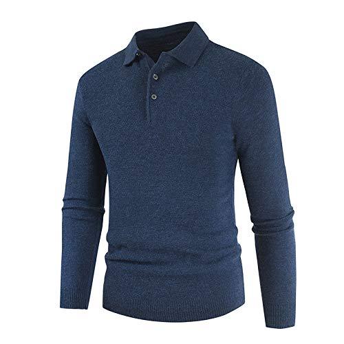 Luandge Suéter de botón con Cuello de Camisa para Hombre Color Puro Moda Sencillez Casual Cómodo versátil Jersey de Punto Ajustado M